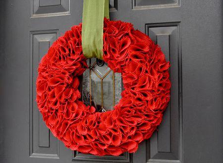 diy burlap covered wreath - Red Christmas Wreath