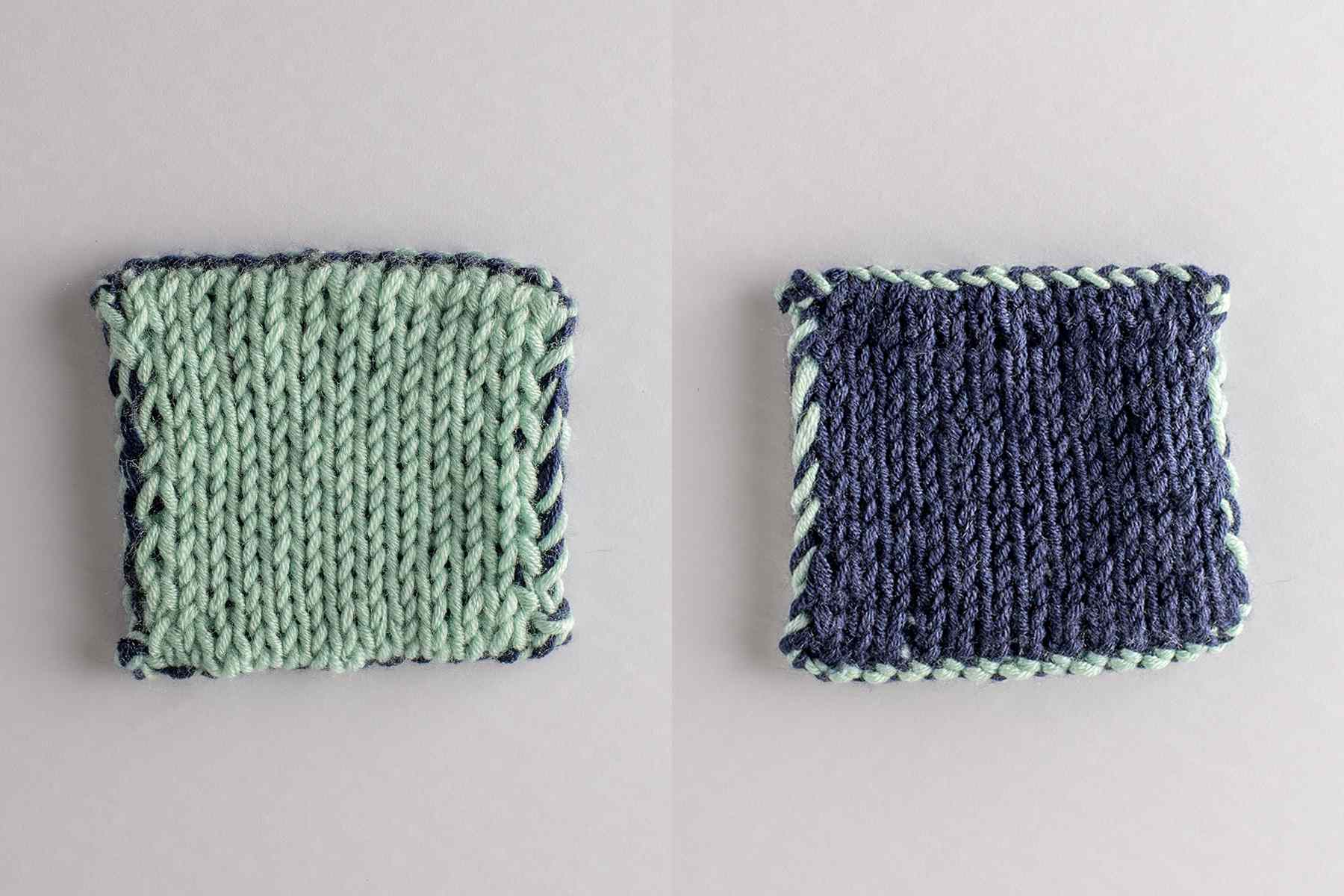 Side by side double knitted fabric swatch on a white background.