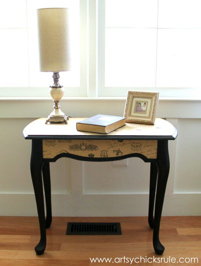 Five Dollar Decoupaged Table Thrifty Makeover Project