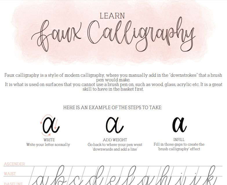 A faux calligraphy worksheet