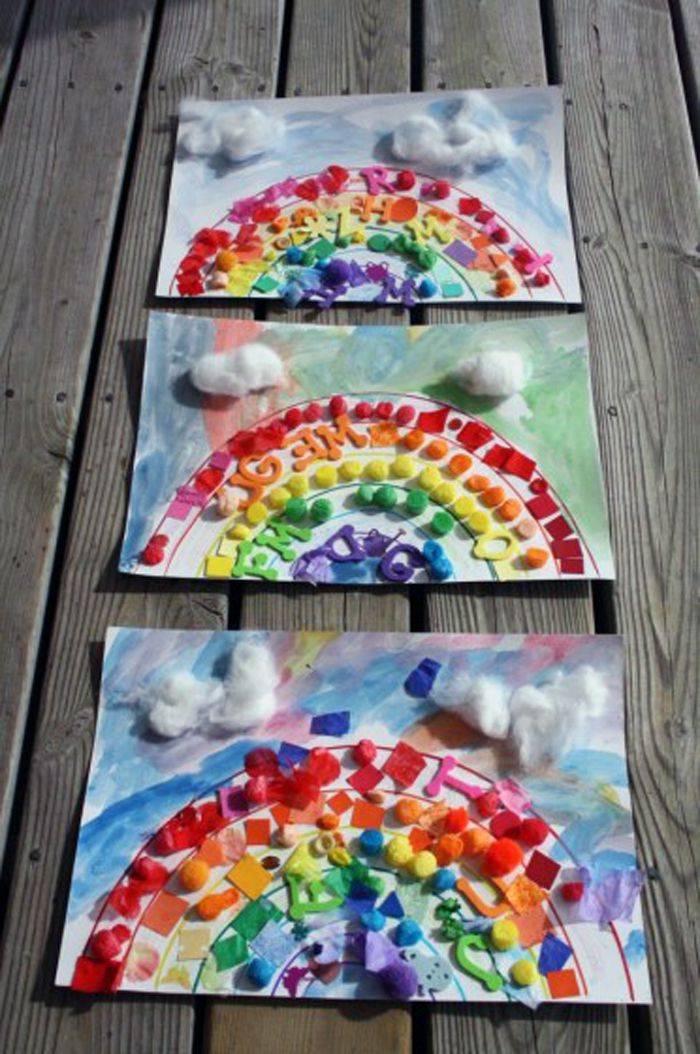 Rainbow collages on wooden deck.