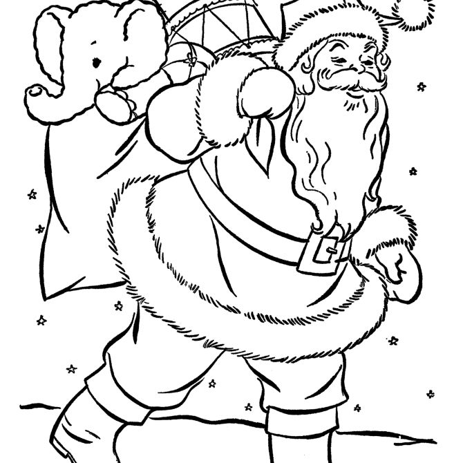 christmas coloring pages at raising our kids santa carrying a bag full of toys