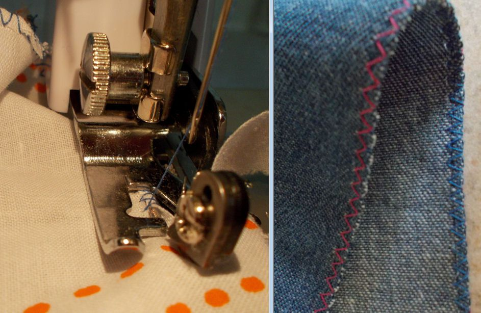 Side Cutter Presser Footworking and stitches being sewn