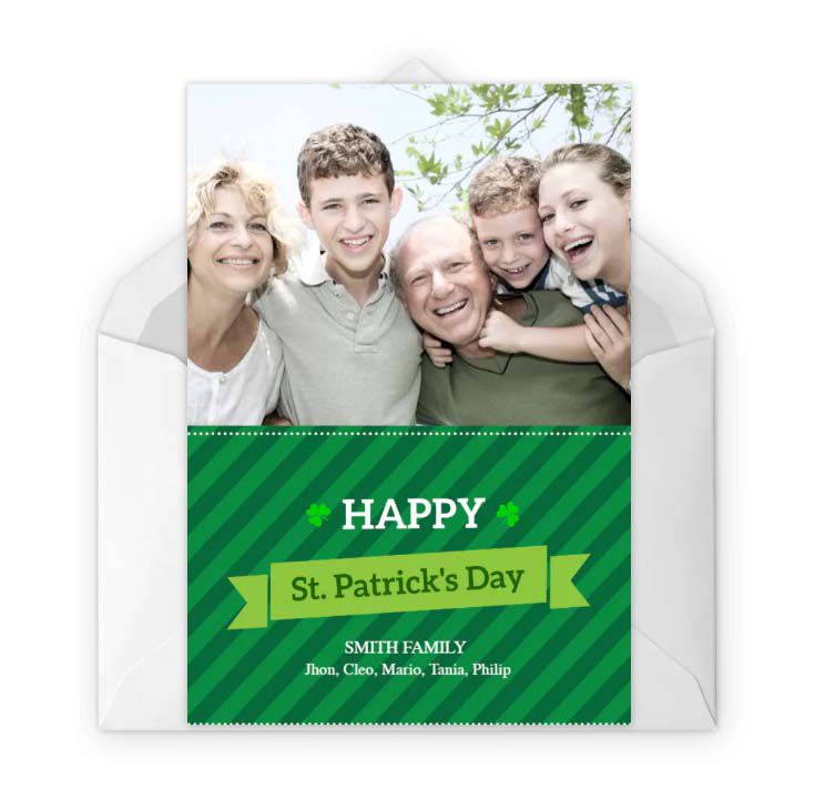 A green St. Patrick's Day photo card