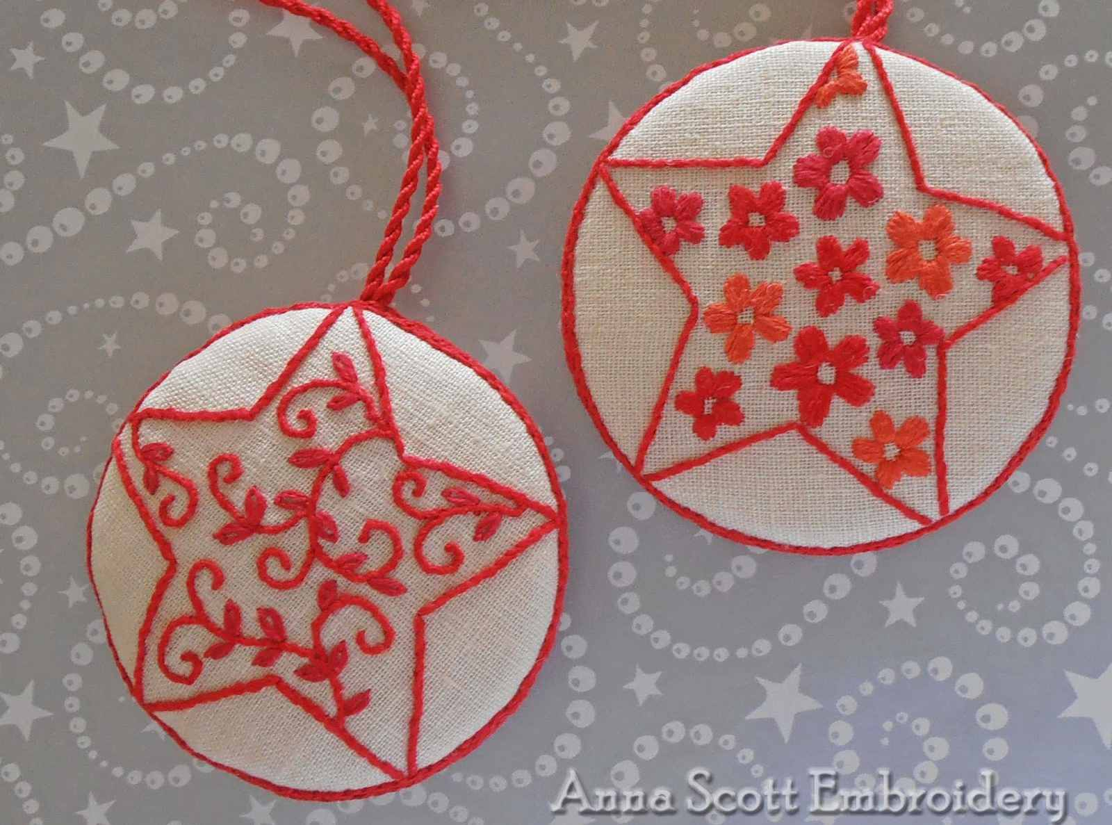 starry night embroidered ornaments - Embroidered Christmas Ornaments