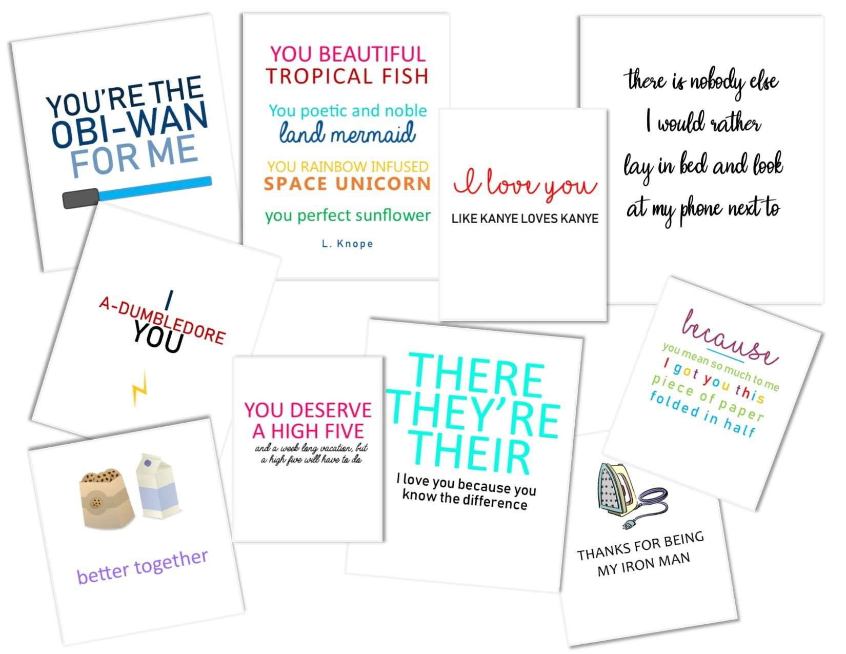 A collection of funny valentines laying on a table