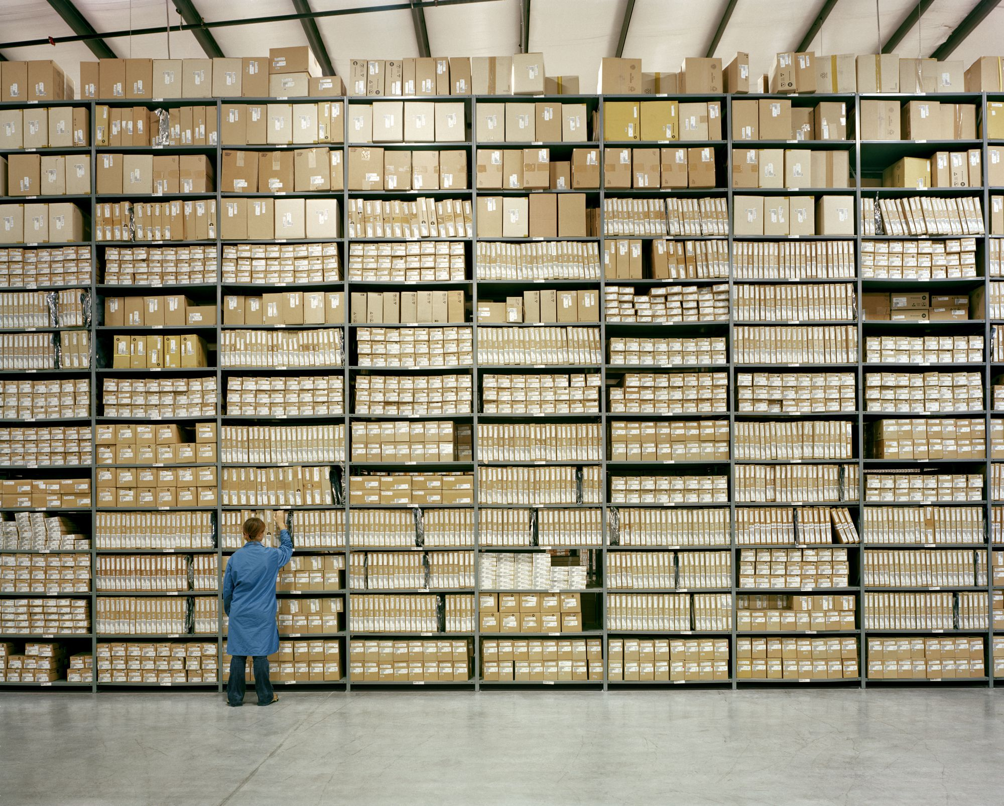 Boxes stacked neatly on shelving