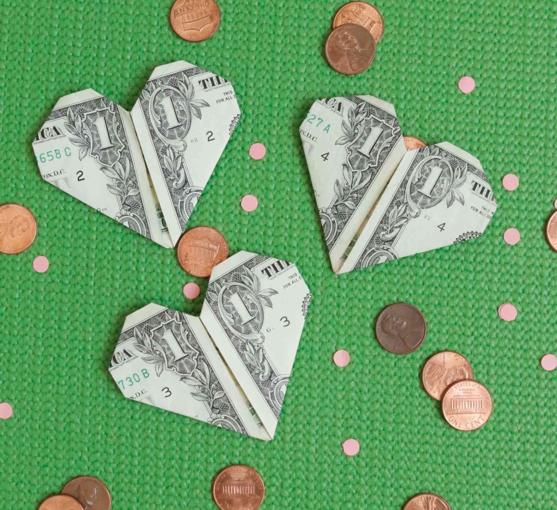 Dollar bill valentines.
