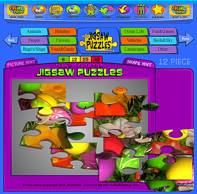 Screenshot of a free jigsaw puzzle at The Kidz Page