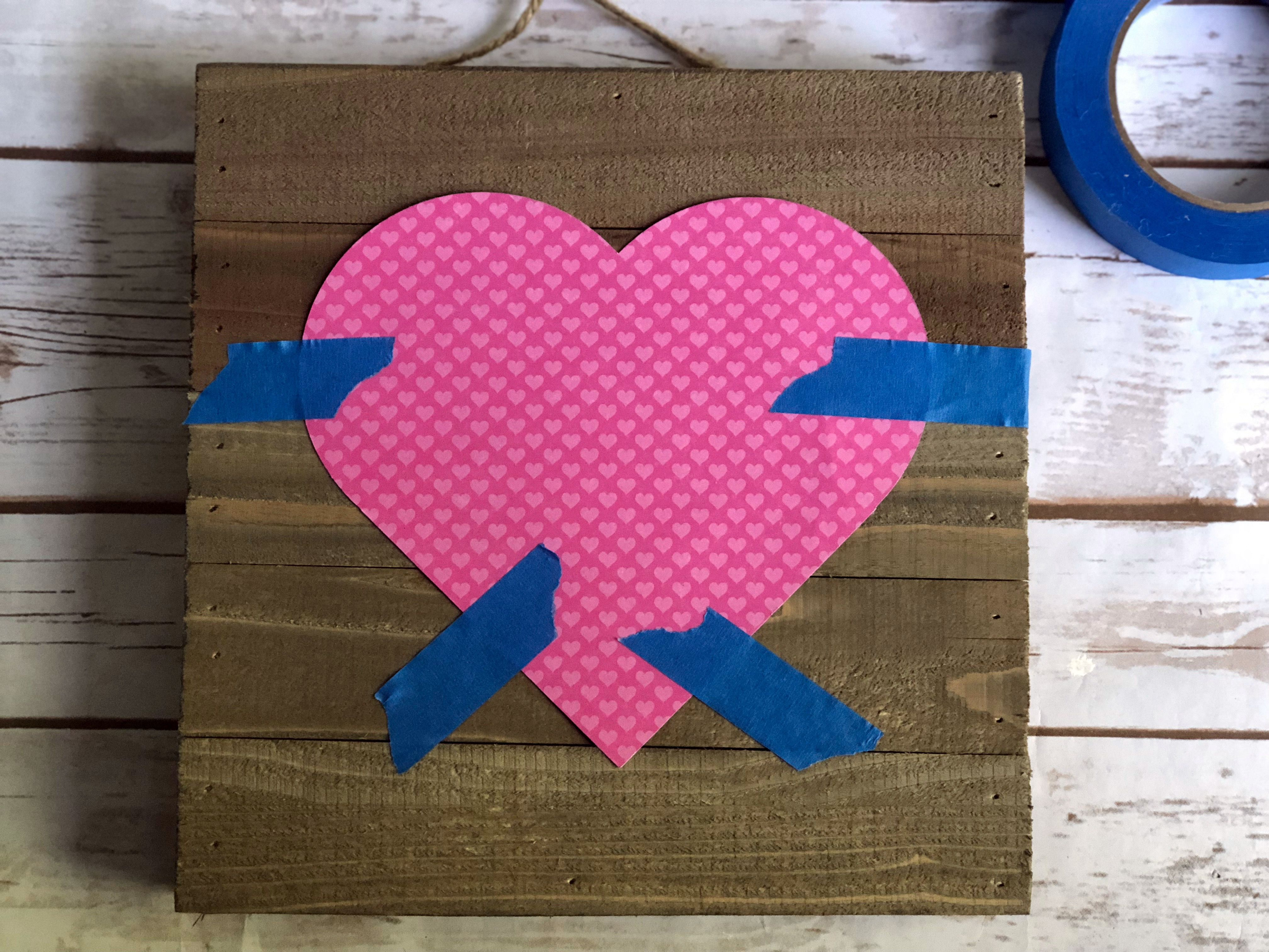 heart taped to board