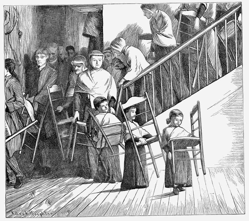 Shaker community going to dinner, each carrying their own typical, simple Shaker chair. Mount Lebanon Community, Lebanon Springs, New York State. From The Graphic, London, 1870. Wood engraving.
