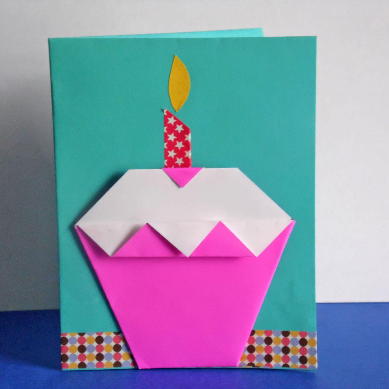 Admirable Easy Diy Origami Cupcake Birthday Card Birthday Cards Printable Trancafe Filternl