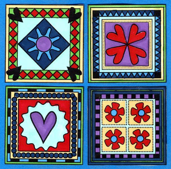 Millefiore Tiles Digital Stamps