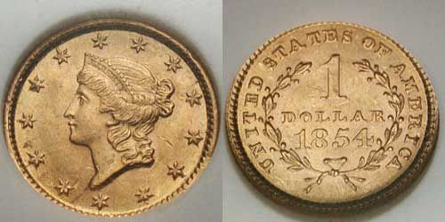 1854 (Type I) Liberty Head U.S. Gold Dollar