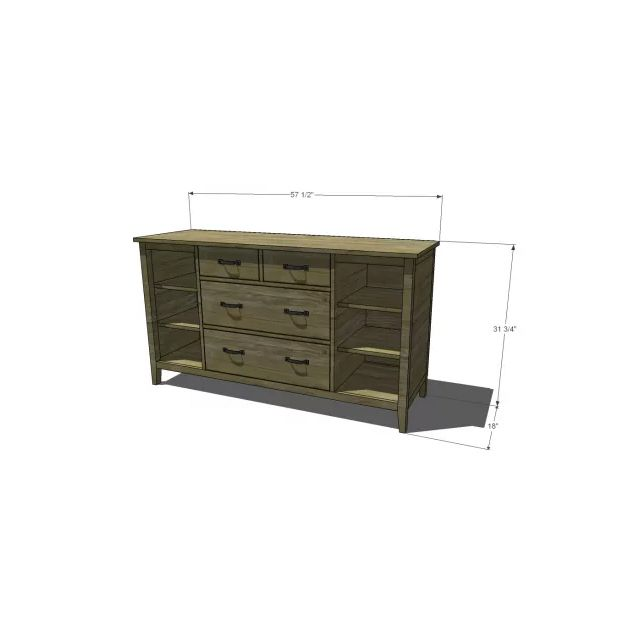 A illustrated drawing of a dresser