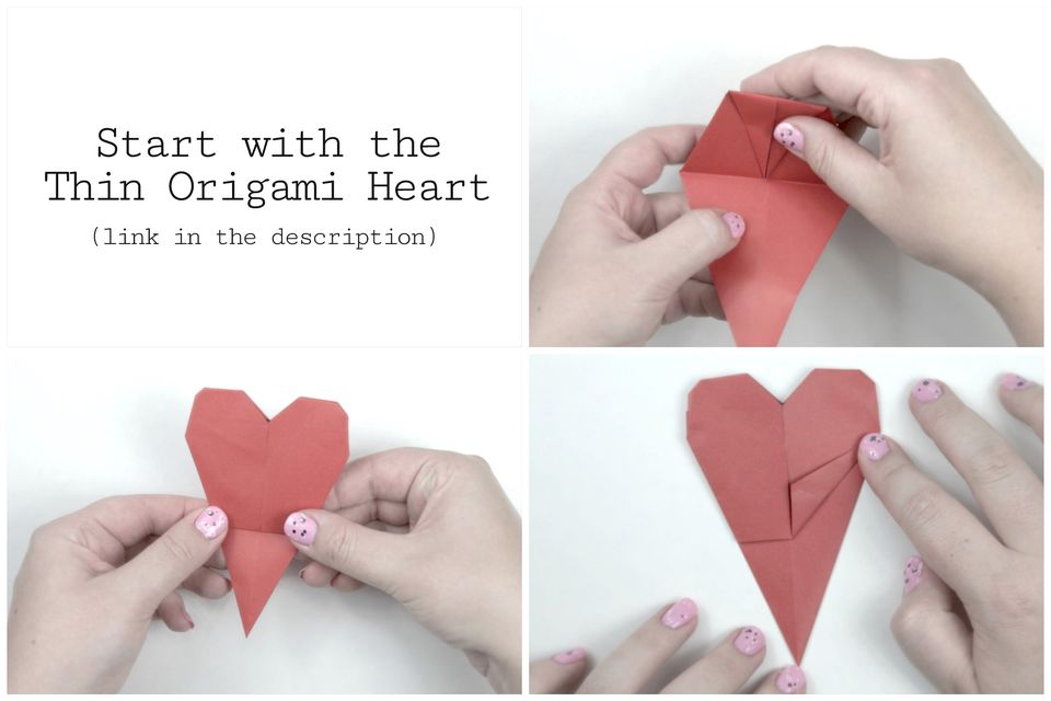 how to make origami heart bookmark