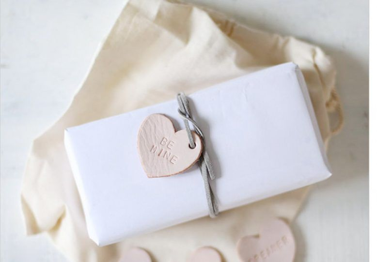 Leather heart gift tag