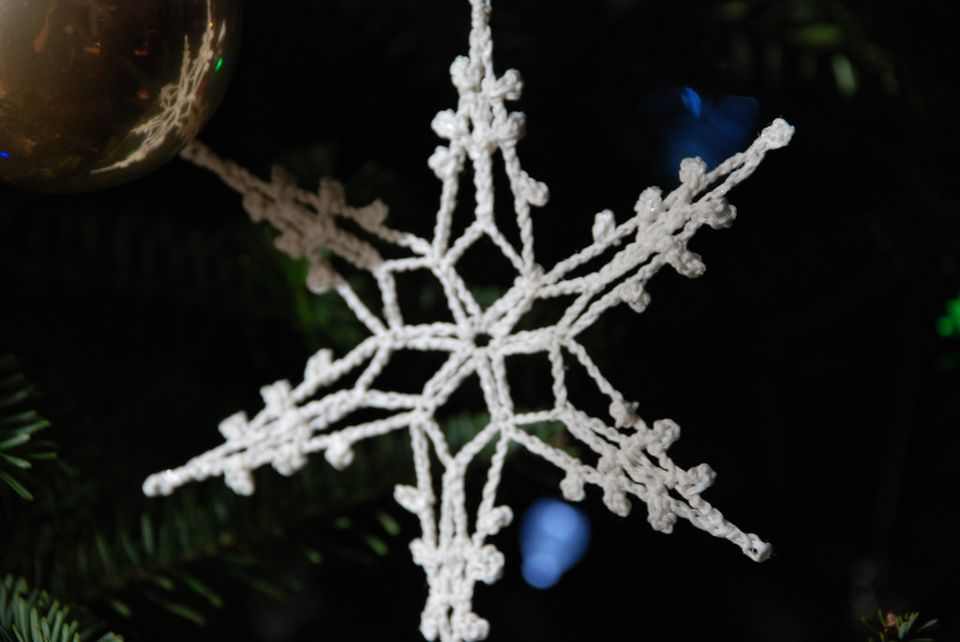 A crocheted snowflake