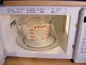 Melt the soap base in a microwave oven