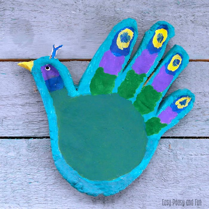 handprint peacock salt dough craft