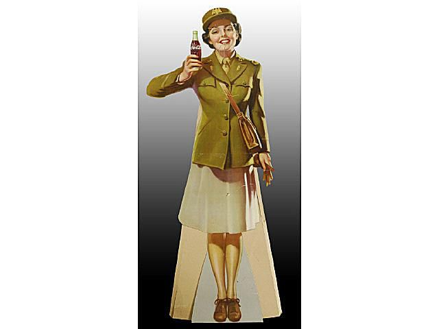 Coca-Cola Life-Size Cardboard Military Girl Sign