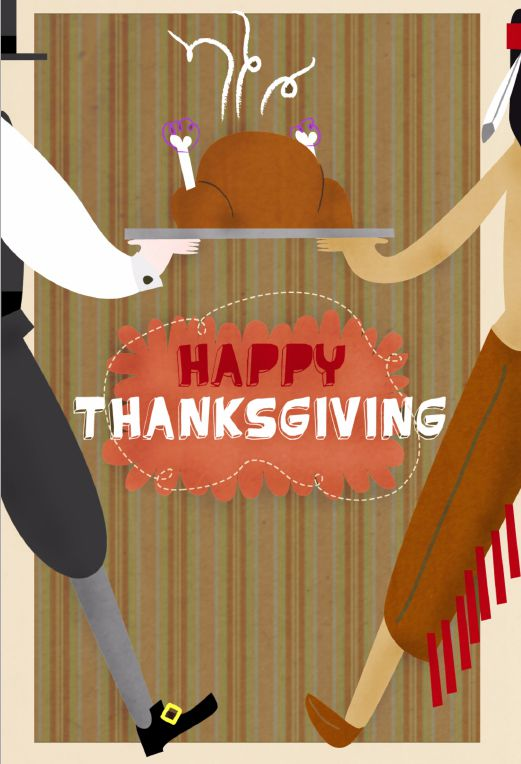 A Thanksgiving card with a turkey on it