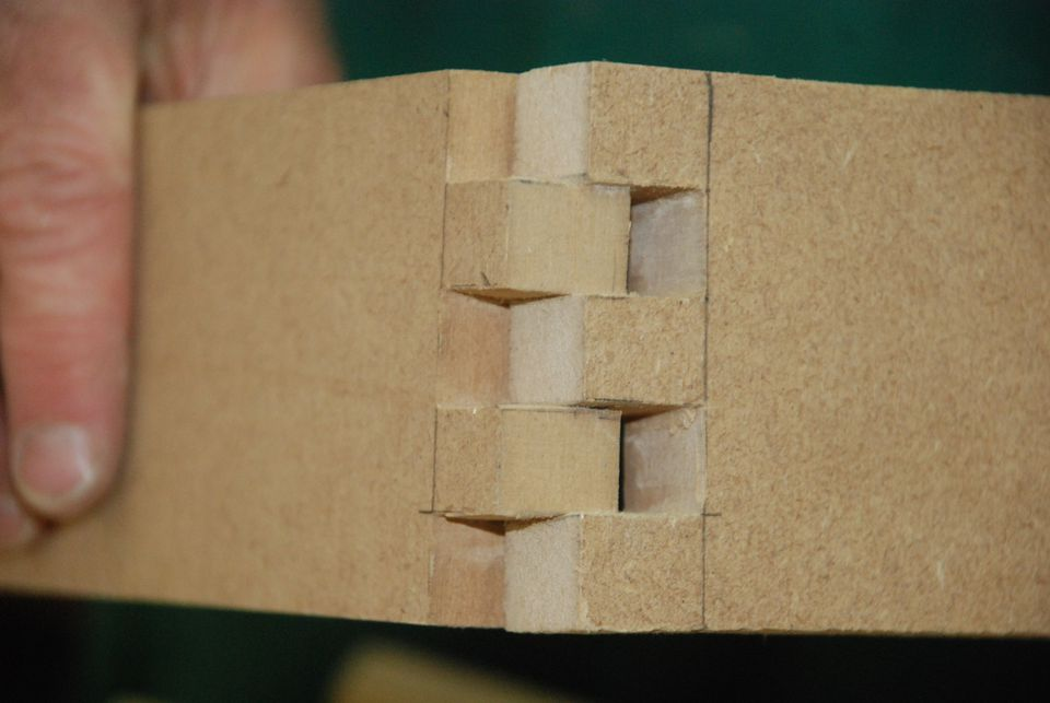 The teeth of a box joint
