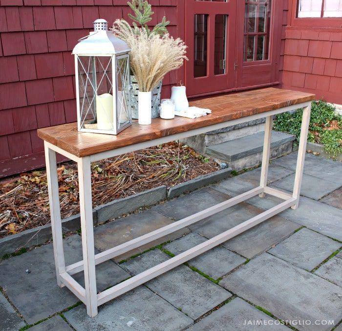 A sofa table outside