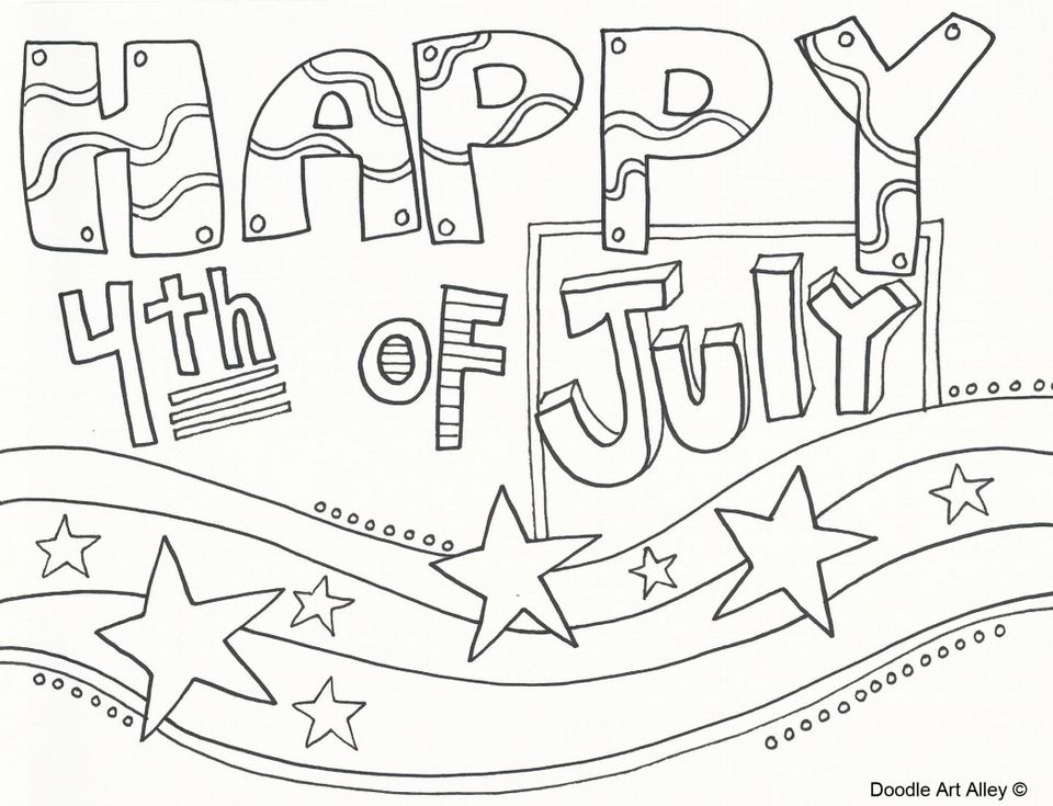 "A coloring page that says ""Happy 4th of July"" with stars and stripes"