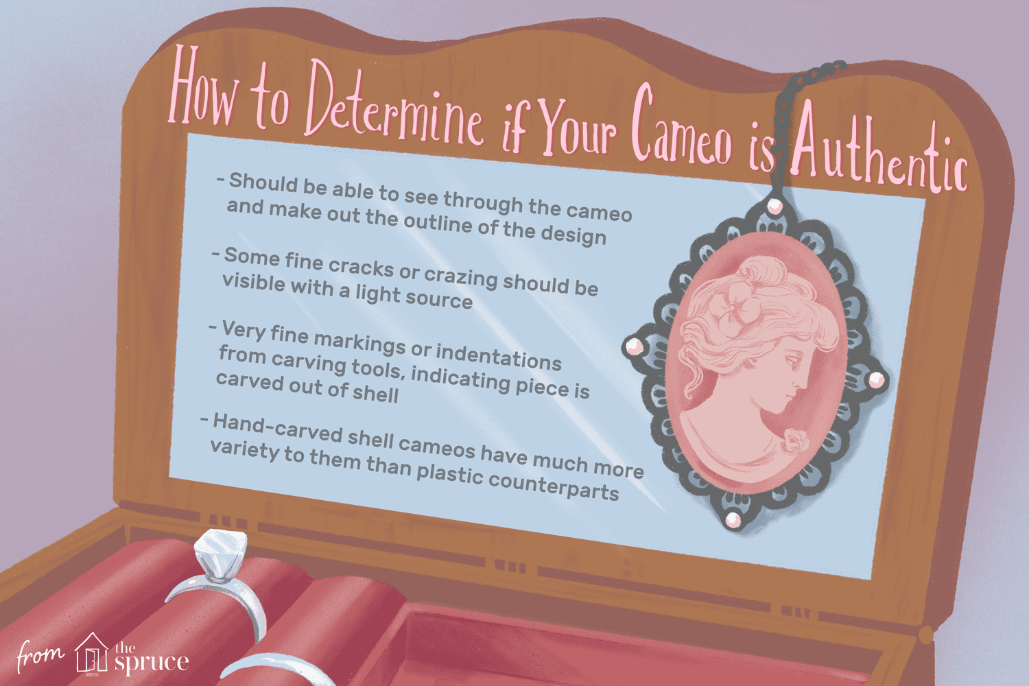 An illustration showing how to determine if your cameo jewelry is authentic