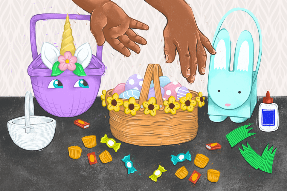 illustration of two hands above an easter basket