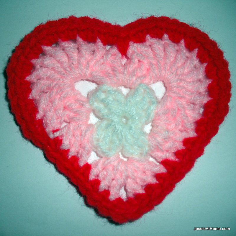 Crochet Heart Coaster Free Pattern