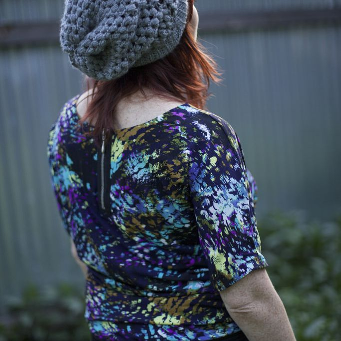 person wearing a slouchy beanie hat