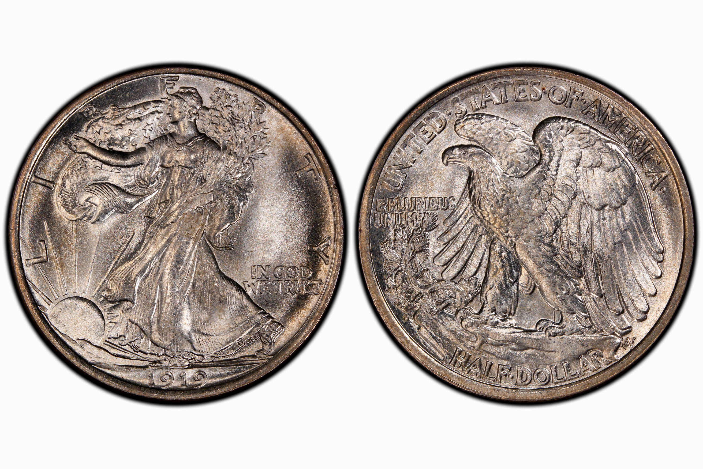 1919-D Walking Liberty Half Dollar graded MS-66 by PCGS
