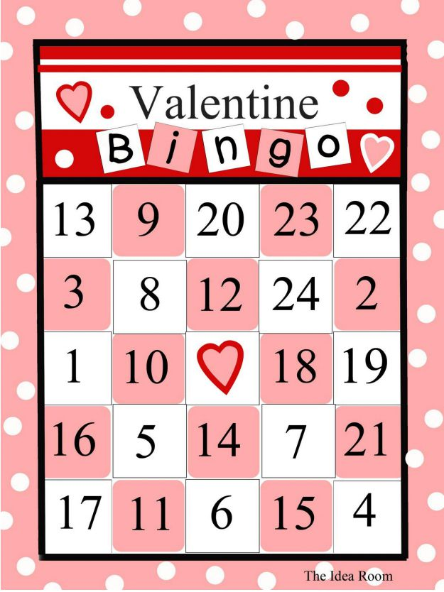 Handy image with printable valentine bingo card