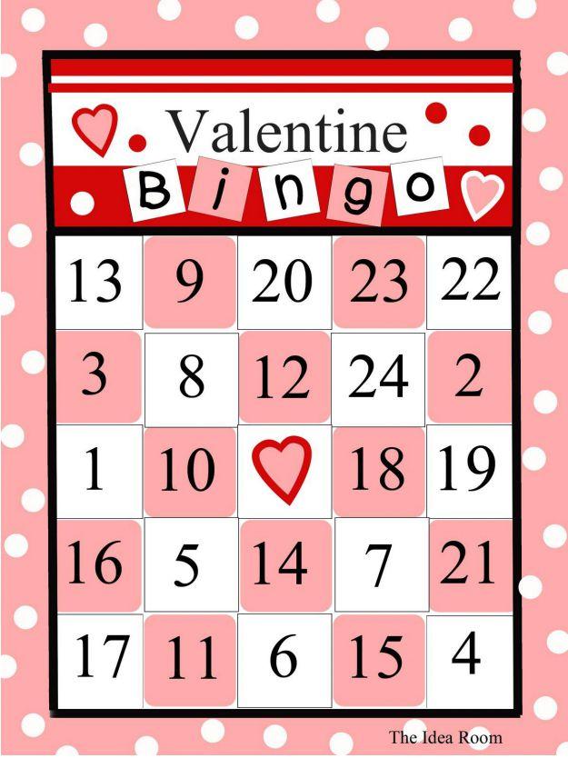 Soft image in printable valentine bingo card