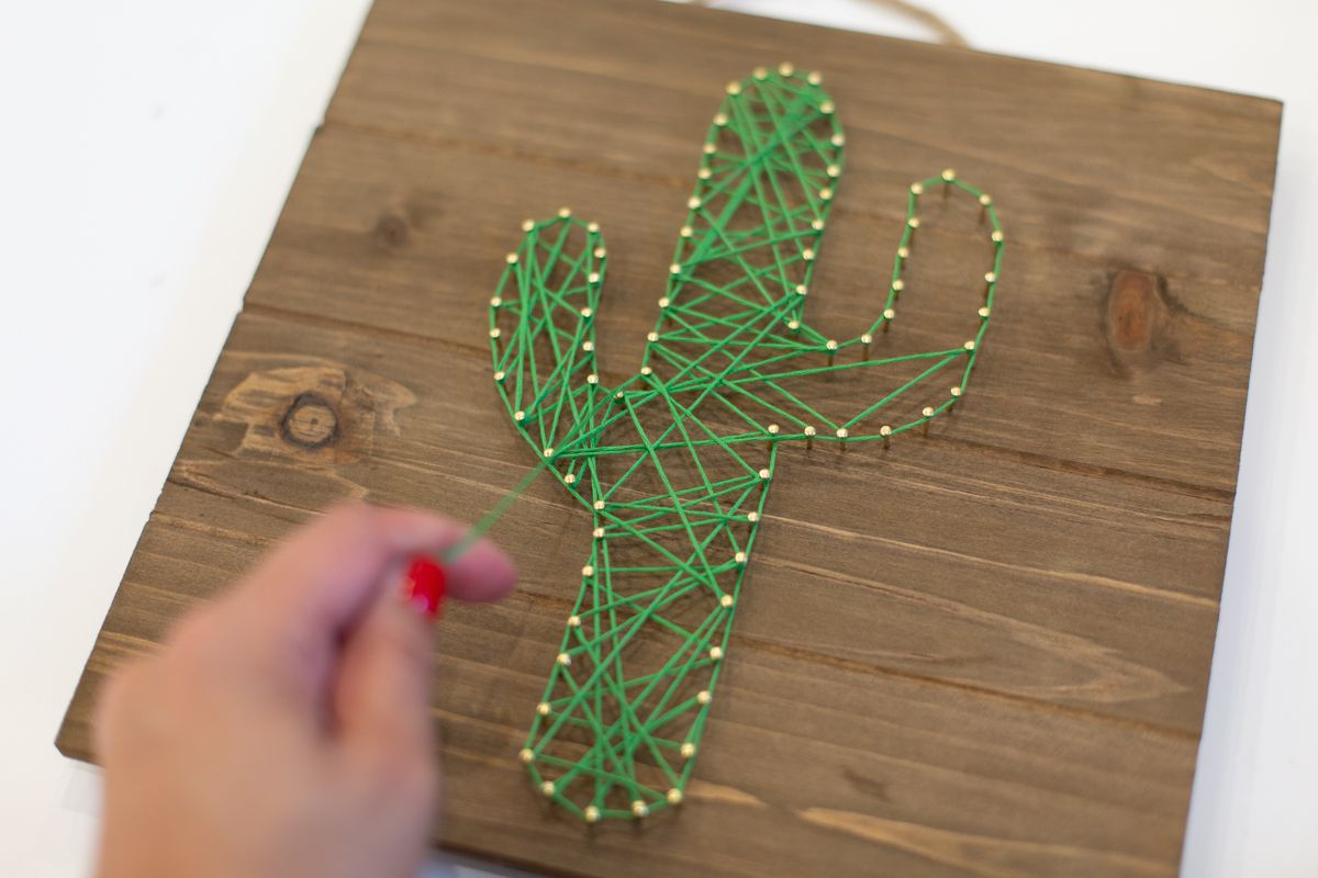 Criss-crossing the String Design to Create Cute Cactus String Art