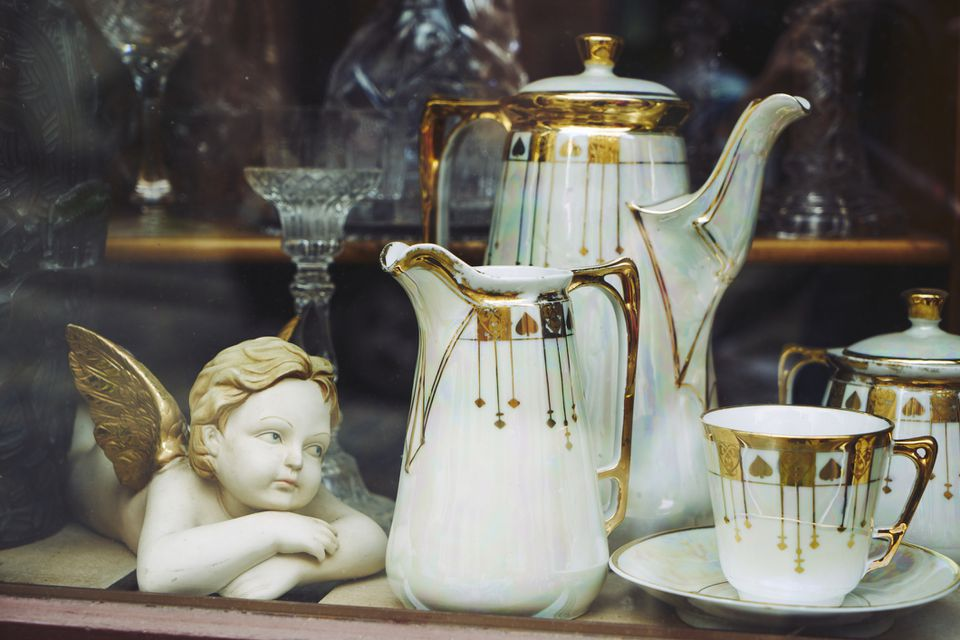 Vintage china in an antique store