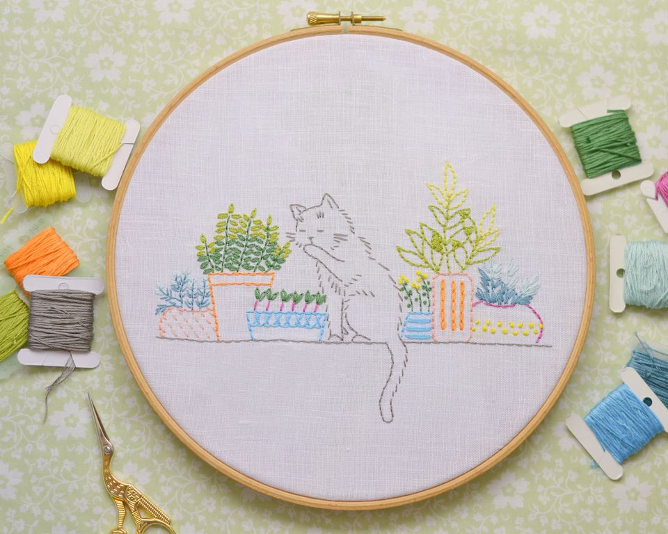 Windowsill Garden Cat Embroidery Pattern