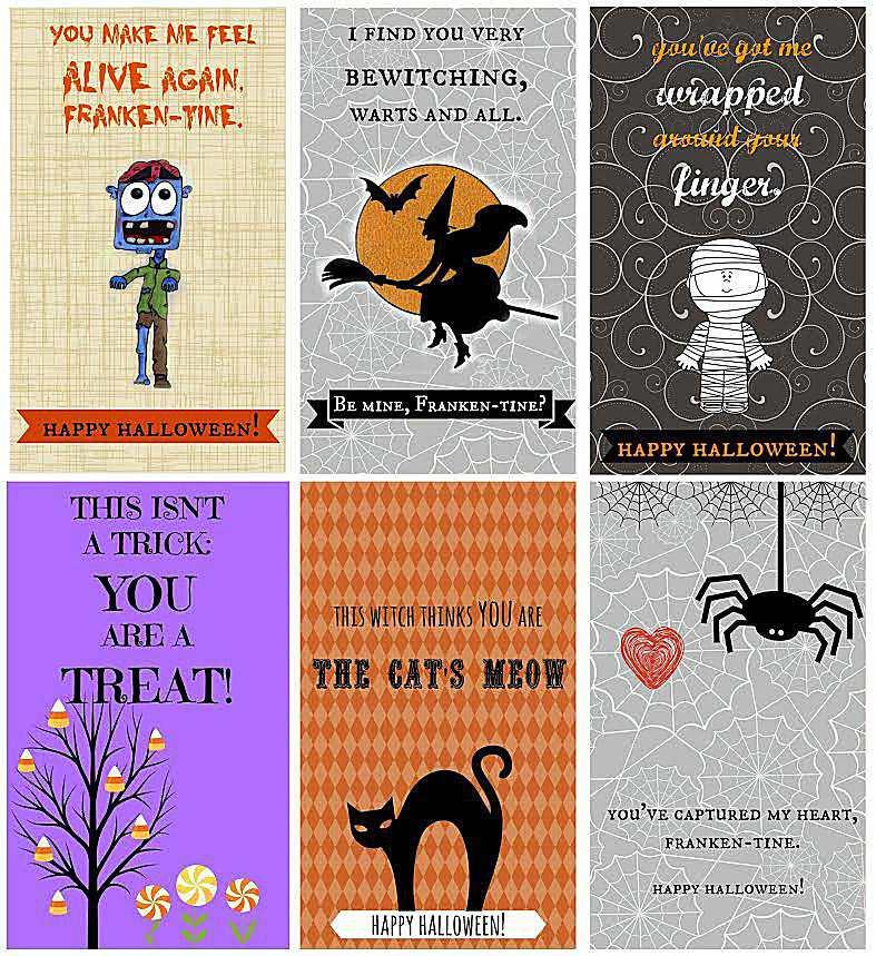 A screenshot of 6 Halloween cards.