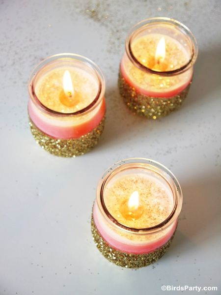 Adhere Some Glitter to a Jar Candle. DIY candle holder ...