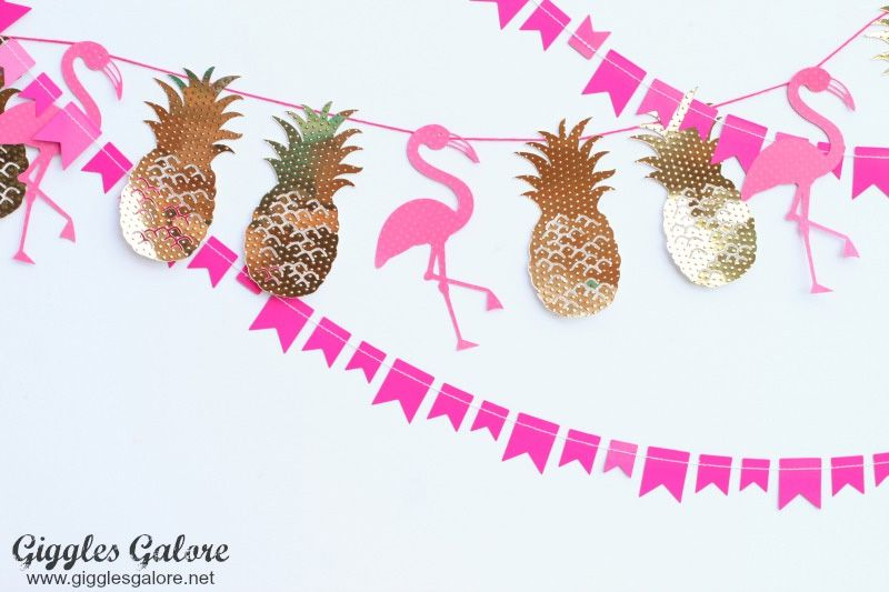 pineapple and flamingo paper banner