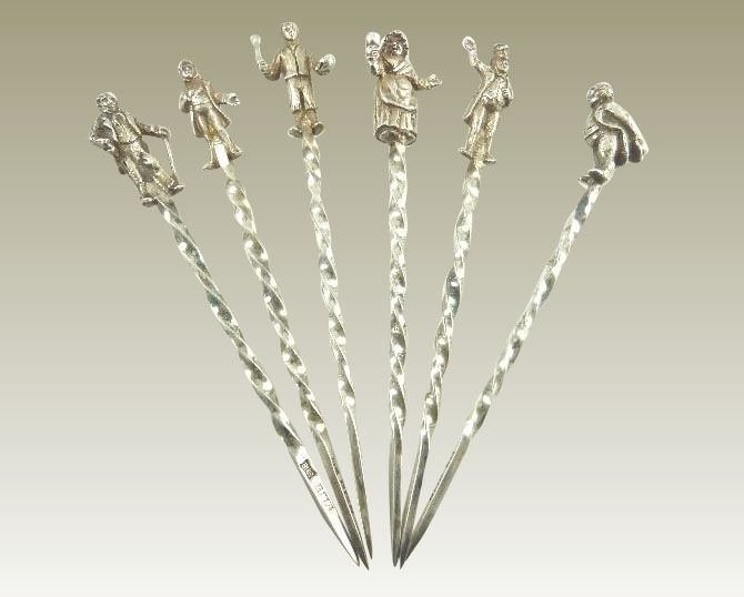 Sterling Silver Cocktail Picks Sticks with Charles Dickens' Characters