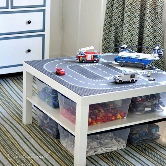 A lego table in a bedroom
