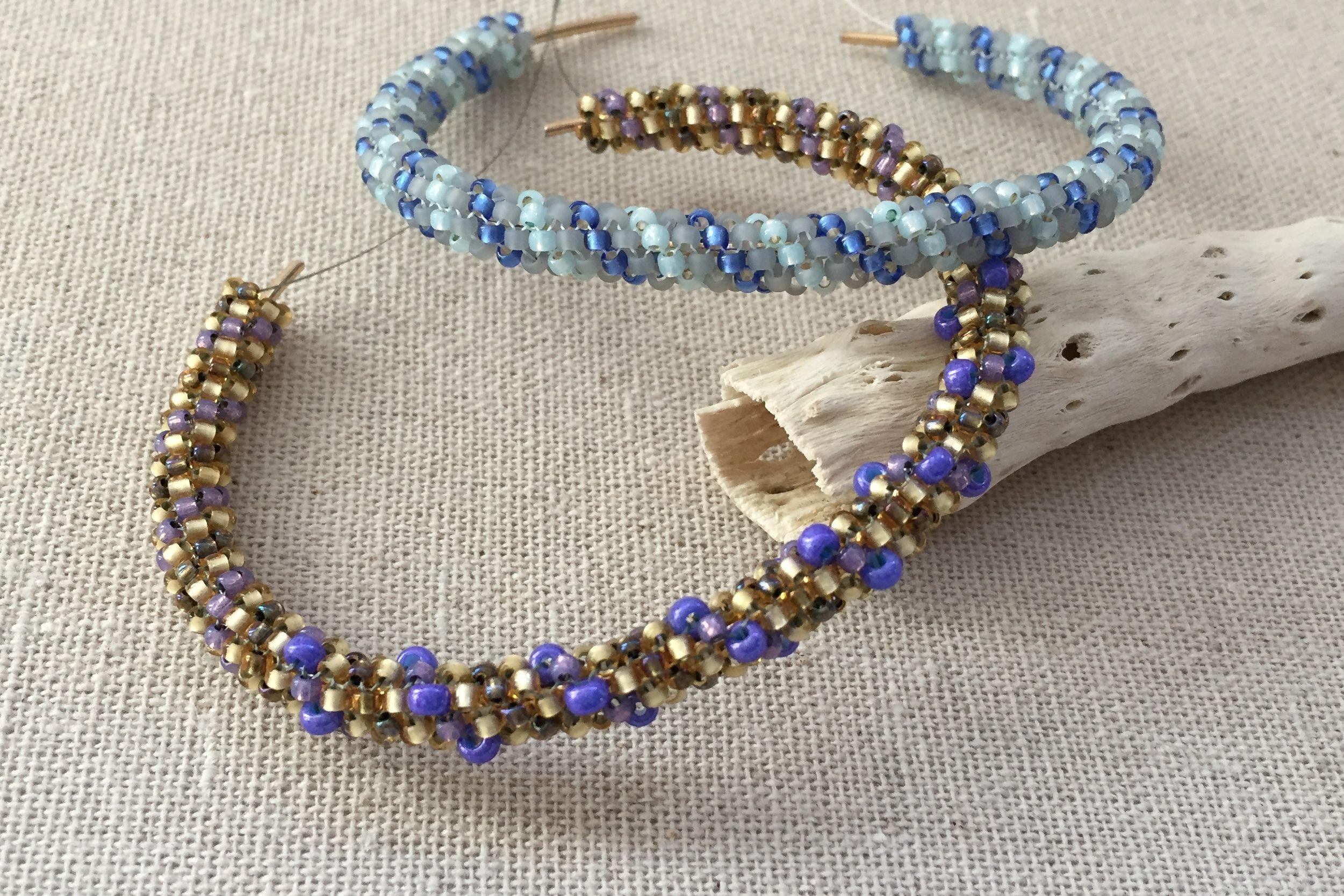Spiral rope pattern tubular peyote bracelets