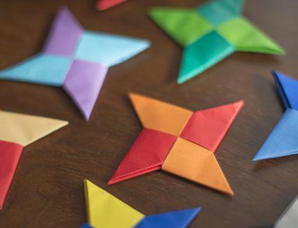 Multi-colored origami ninja stars