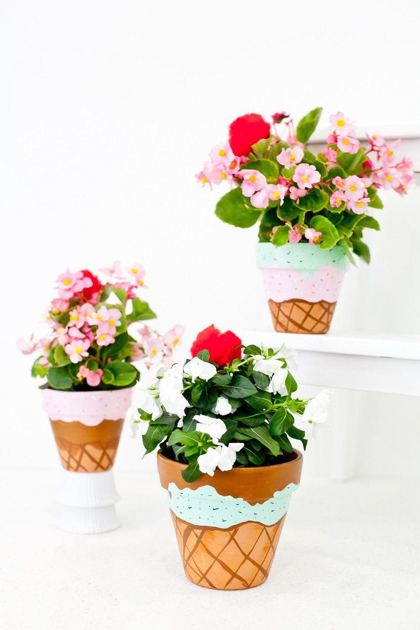 Ice cream cone flower pots