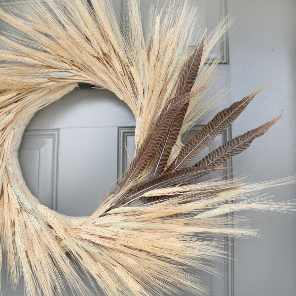 DIY Fall Wreath Using Wheat and Feathers