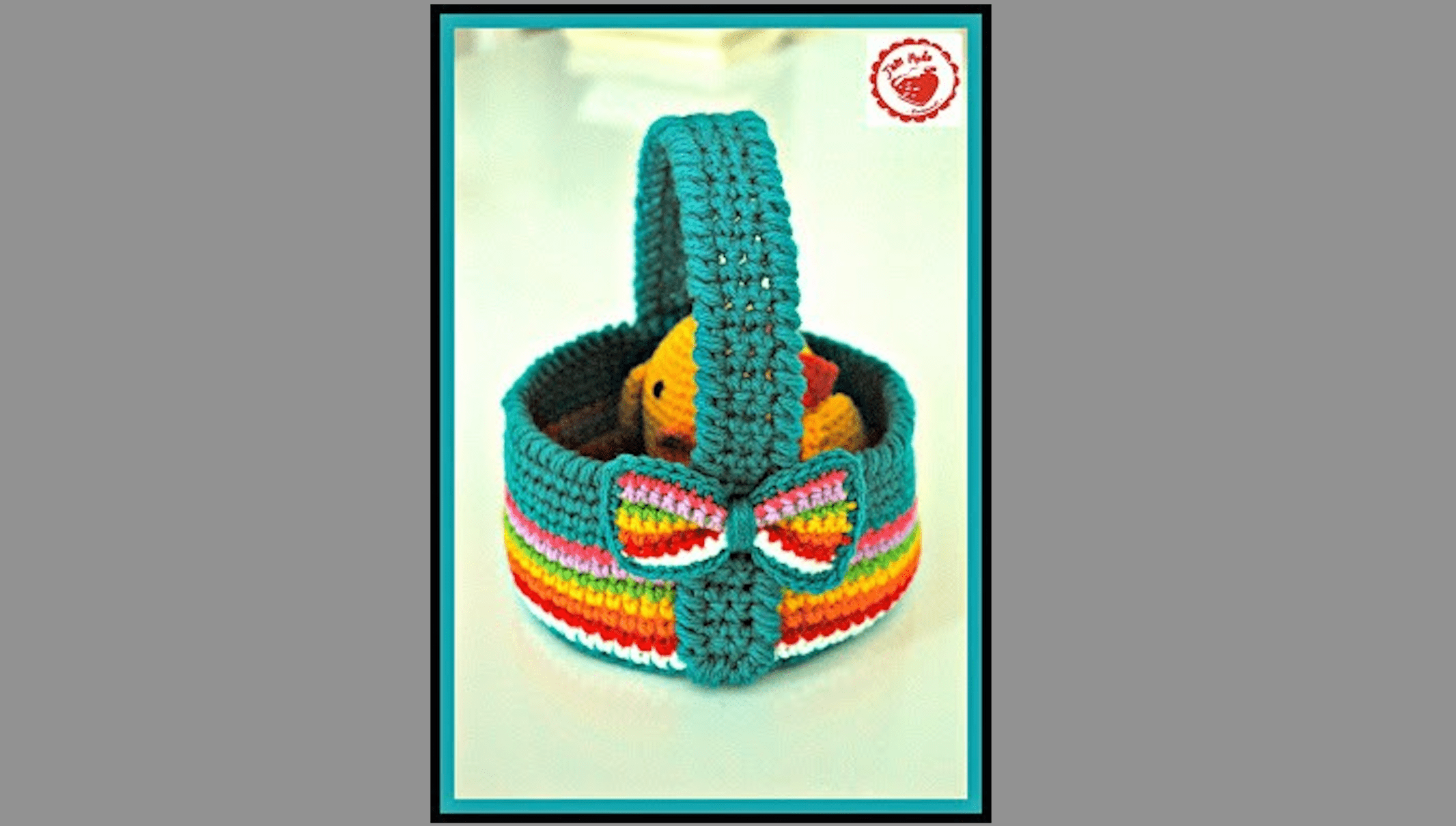 rainbow crochet eater basket