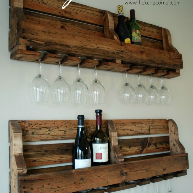 A DIY wine rack on a wall